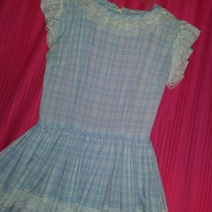 Vintage 1940s blue gingham cotton dress 6